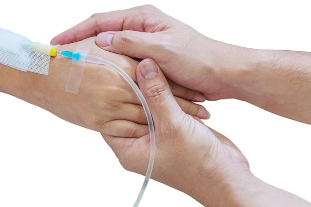 Homme, tenue, femme, patient, main, tube, injection, médecine, lit, hôpital Photo gratuit