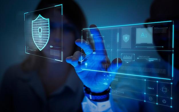 Homme touchant un écran générant des données Photo Premium