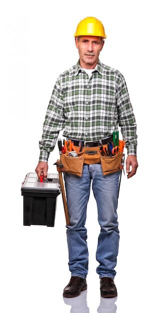 Homme à tout faire avec boîte à outils Photo Premium