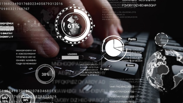 Homme Travaillant Sur Un Clavier D'ordinateur Portable Avec Une Interface Utilisateur Graphique Photo Premium