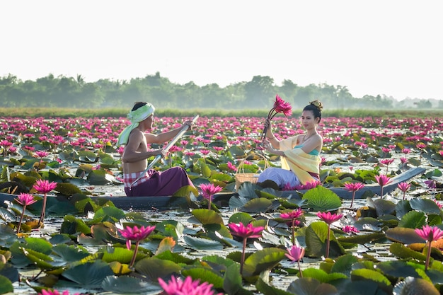 Les hommes asiatiques recueillent des fleurs de lotus rouges pour que les femmes asiatiques puissent adorer Photo Premium