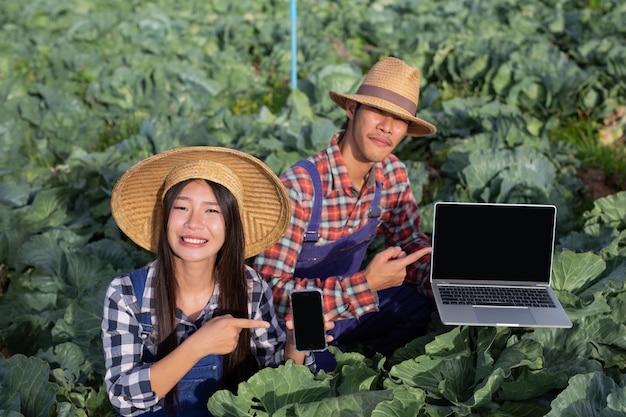 Les hommes et les femmes de l'agriculture qui utilisent la technologie pour analyser leurs légumes dans l'agriculture moderne. Photo gratuit