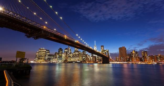 Horizon de new york par nuit Photo Premium