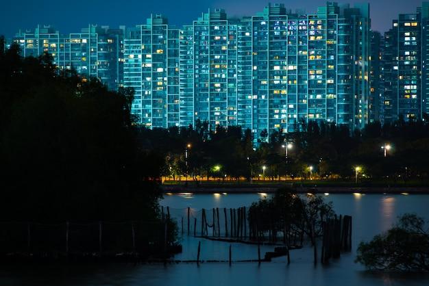 Horizon de shenzhen talent park pendant la nuit, paysages de la ville de shenzhen Photo Premium