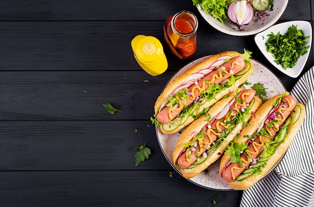 Hot-dog Avec Saucisse, Concombre, Radis Et Laitue Photo Premium