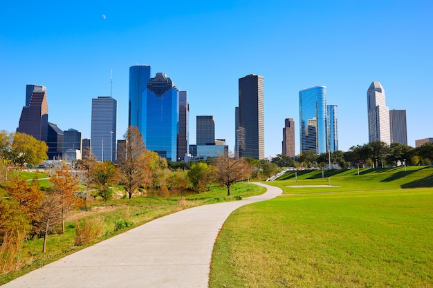 Houston Skyline En Journée Ensoleillée D'herbe Du Parc Photo Premium
