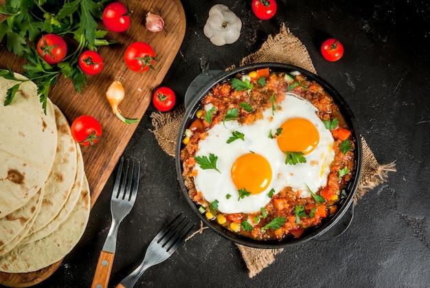 Huevos Rancheros, Cuisine Mexicaine Photo Premium