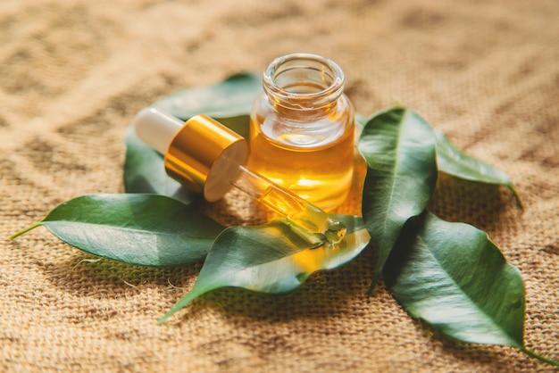 Huile essentielle d'arbre à thé dans une petite bouteille. mise au point sélective. Photo Premium