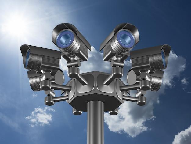 Huit Caméras De Sécurité Sur Le Ciel. Rendu 3d Photo Premium