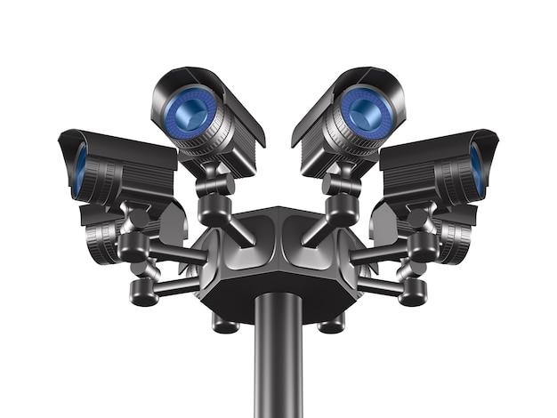 Huit Caméras De Sécurité. Rendu 3d Isolé Photo Premium