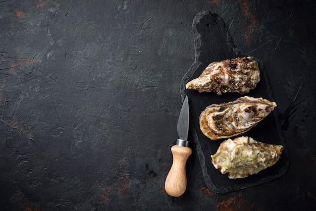 Huîtres fraîches sur fond sombre Photo Premium