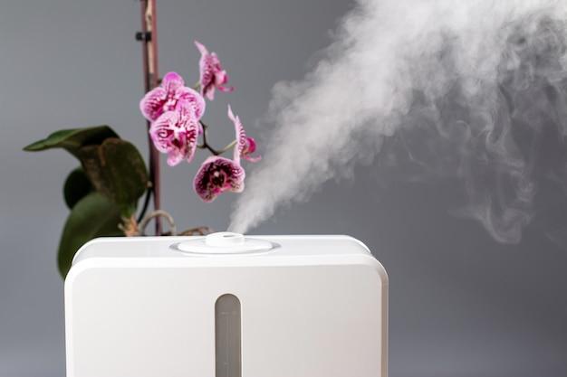 Humidificateur Dans La Maison. Hydratant. Vapeur. Espace Pour Le Texte Photo Premium
