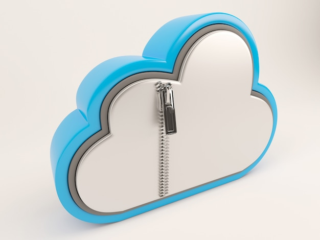 Icône 3d render of cloud drive avec zip Photo Premium