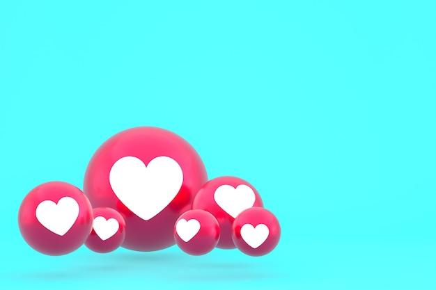 Icône D'amour Facebook Réactions Emoji Rendre, Symbole De Ballon De Médias Sociaux Sur Fond Bleu Photo Premium