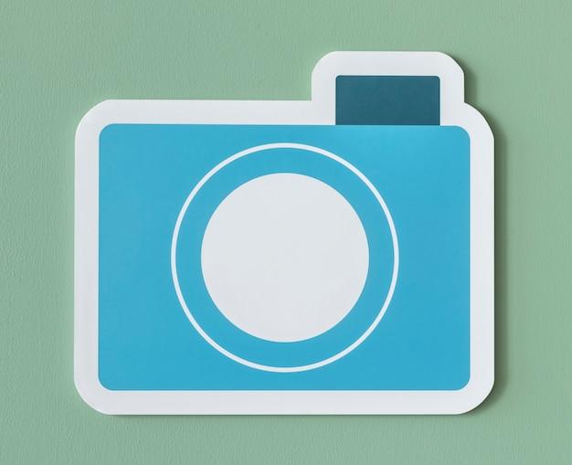 Icône d'appareil photo en papier bleu Photo gratuit