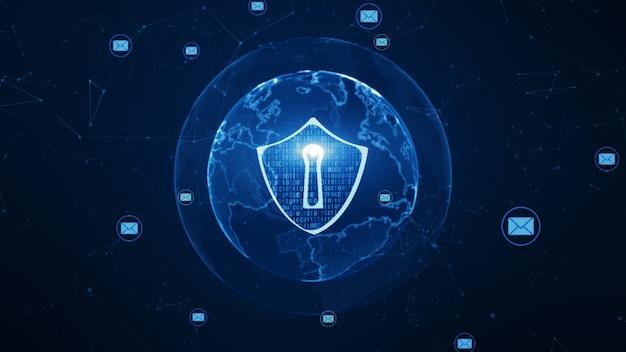 Icône de bouclier et de courrier électronique sur un réseau mondial sécurisé Photo Premium