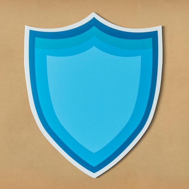 Icône de bouclier de protection bleu isolé Photo gratuit