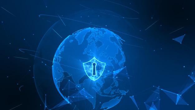 Icône de bouclier sur un réseau mondial sécurisé, concept de cybersécurité. élément de terre fourni par la nasa Photo Premium