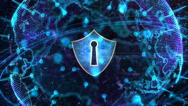 Icône de bouclier sur le réseau mondial sécurisé, la cybersécurité et la protection des données numériques personnelles Photo Premium