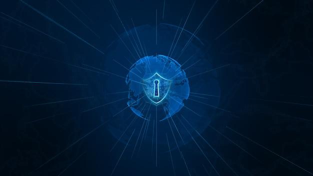 Icône de bouclier sur réseau mondial sécurisé, cybersécurité et protection du concept de données personnelles. élément de terre fourni par la nasa Photo Premium