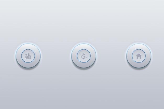 Icône de bouton poussoir de la famille définie symbole sur gris. Photo Premium