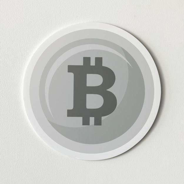 Icône de cryptomonnaie argent bitcoin isolée Photo gratuit