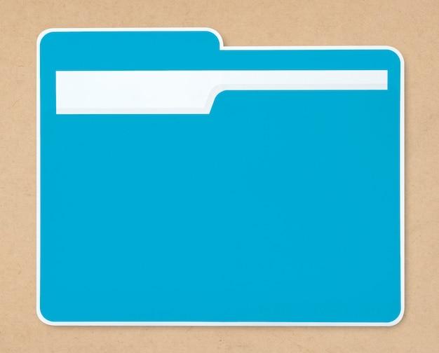 Icône de dossier de document bleu isolé Photo gratuit