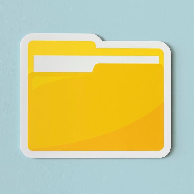 Icône d'un dossier jaune Photo gratuit
