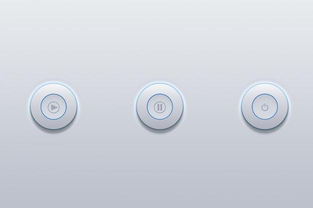 Icône du bouton poussoir du symbole de média électronique sur gris. Photo Premium
