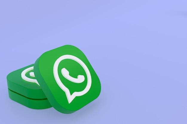 Icône Du Logo Vert Application Whatsapp Rendu 3d Sur Fond Violet Photo Premium
