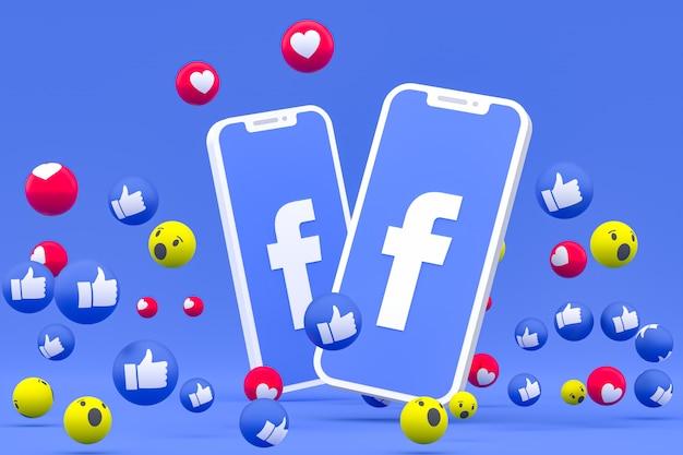 L'icône Facebook Sur L'écran Du Smartphone Et Les Réactions Facebook Aiment, Wow, Comme Le Rendu 3d Emoji Photo Premium