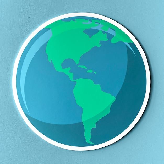 Icône de globe de papier découpé Photo gratuit