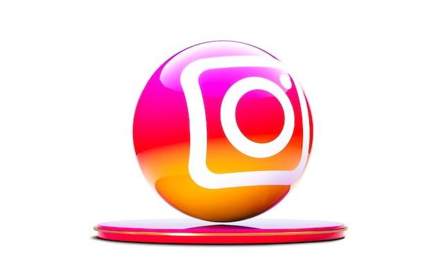Icône D'instagram Dans La Sphère 3d Isolée Sur Fond Blanc. Photo Premium