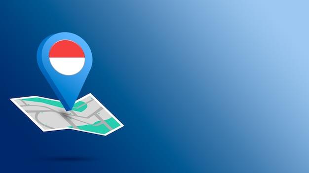 Icône De Localisation Avec Le Drapeau De L'indonésie Sur La Carte De Rendu 3d Photo Premium
