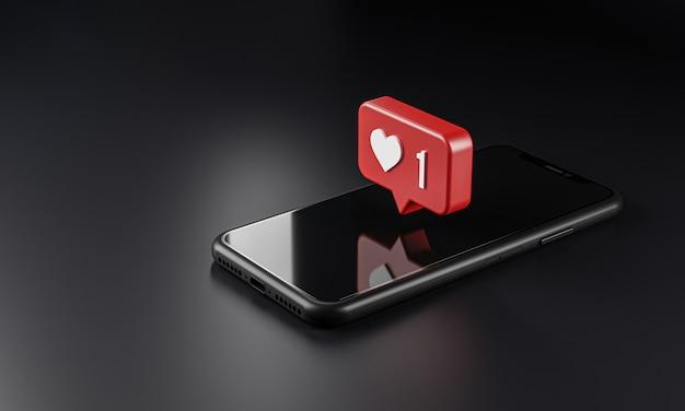 Icône De Logo De Notification D'amour Sur Smartphone, Rendu 3d Photo Premium