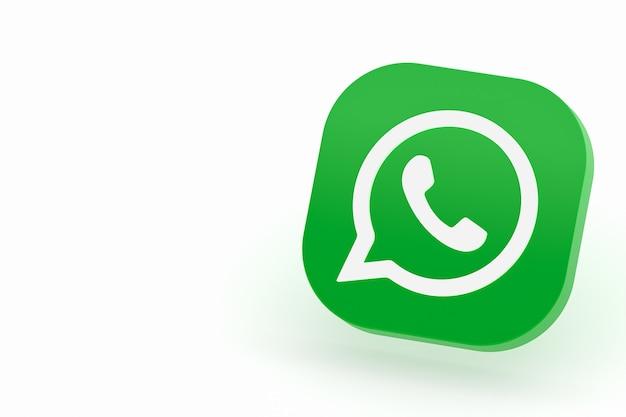 Icône De Logo Vert Application Whatsapp Rendu 3d Sur Fond Blanc Photo Premium