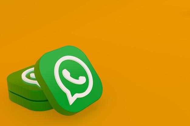 Icône De Logo Vert Application Whatsapp Rendu 3d Sur Fond Jaune Photo Premium