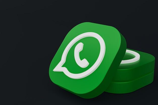 Icône De Logo Vert Application Whatsapp Rendu 3d Sur Fond Noir Photo Premium