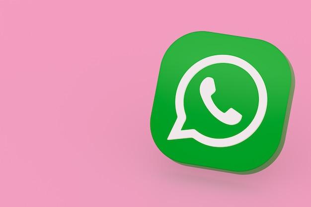 Icône De Logo Vert Application Whatsapp Rendu 3d Sur Fond Rose Photo Premium