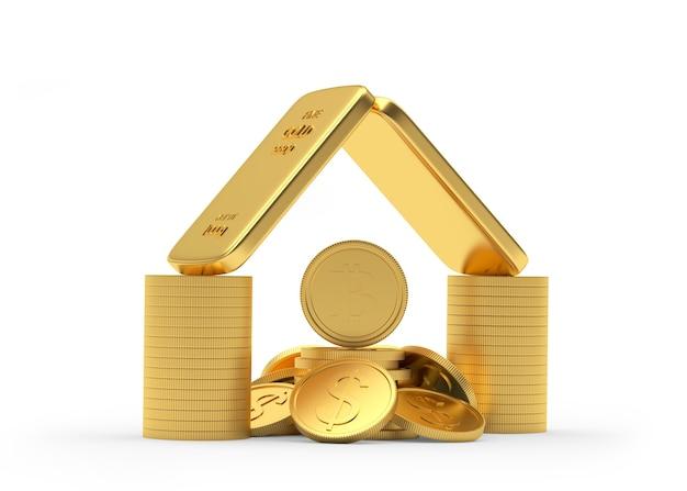 Icône De La Maison D'argent Et De Lingots D'or Avec Des Pièces De Monnaie Dollar Et Bitcoin Photo Premium