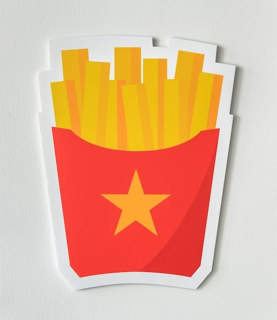 Icône de la malbouffe frites Photo gratuit