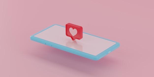 Icône De Notifications De Médias Sociaux à L'écran. Rendu 3d. Photo Premium