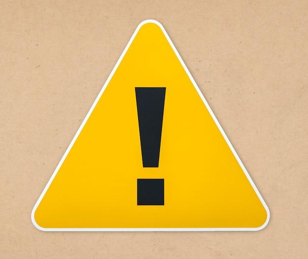 Icône de panneau d'avertissement triangle jaune isolé Photo gratuit