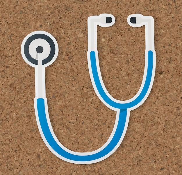 Icône de santé et d'hôpital du stéthoscope Photo gratuit