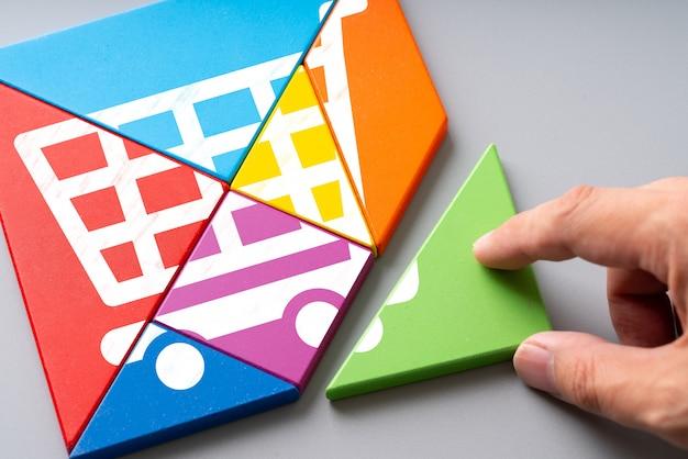 Icône shopping en ligne sur puzzle coloré Photo Premium