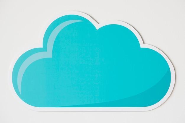 Icône de symbole technologie nuage bleu Photo gratuit