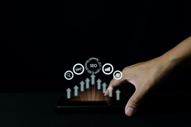 Idée De Concept De Photo De Marketing Numérique Seo Avec Contenu Infographique Spécial Photo Premium