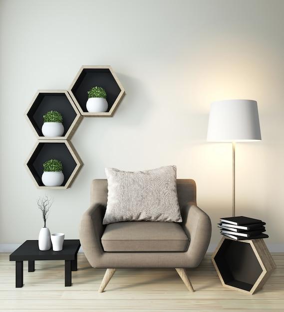 Idée de design en bois étagère hexagone sur le mur et le fauteuil de style japonais Photo Premium