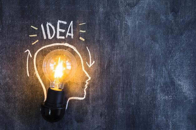 Idée illuminée ampoule à l'intérieur du visage dessiné contour sur tableau noir Photo gratuit