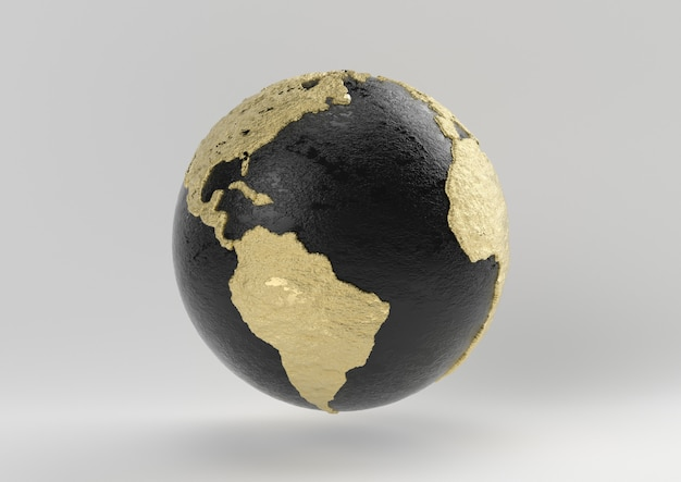 Idée de luxe de la terre. concept noir et or avec fond blanc, rendu 3d. Photo Premium